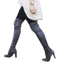 frauen grau stiefel high heel großhandel-graue Stiefel Oberschenkel hohe Frauen Overknee-Stiefel Damenmode Veloursleder-Absatz-Schnürstiefel