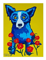 Wholesale dog oil paintings canvas resale online - Hot f George Rodrigue Blue Dog Spring Is Here Oil painting Home Decor Wall Art on Canvas Multi Sizes Options a137