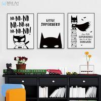ingrosso citazioni d'arte per i bambini-citazione poster Nordic Black White Supereroe Batman Hippie Quote Poster Boy Camera Dei Bambini Wall Art Canvas Pittura Home Decor Stampa Immagine Personalizzata