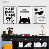 citas de arte para niños al por mayor-Cotización poster Nordic Negro Blanco Superhéroe Batman Hippie Cita Cartel Niño Habitación de los niños Arte de la pared Lienzo Pintura Decoración para el hogar Impresión de la imagen