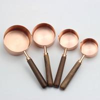 aço inoxidável e líquido venda por atacado-Rosa de Ouro Copos De Medição De Aço Inoxidável Colheres De Medição Definido para Ingredientes Líquidos e Secos 4 pçs / set