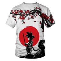 gott 3d druck t-shirts großhandel-Dragon Ball Z Ultra-Instinct Gott Son Goku Super Saiyan Männer-T-Shirt 3D-gedrucktes Sommer O-Ansatz täglicher beiläufiges lustige T-Shirt in Übergrößen