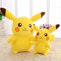 Wholesale pikachu bedding resale online - Popular pikachu toy D cartoon figure flash doll cm different size Crystel velvet material PP content cotton safe soft bed car cuddle gift