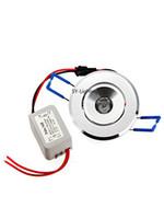 lámpara de punto blanco rojo al por mayor-1W LED Techo Spot Light Cabinet Lámpara empotrada DownLight Bombilla Rojo Verde Azul Amarillo Blanco cálido Blanco UV (Paquete de 10)