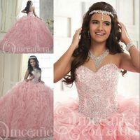 Wholesale white organza tops online – Princess Pink Organza Ruffles Ball Gown Quinceanera Dresses Sweetheart Beading Crystal Top Sweet Dress vestidos de