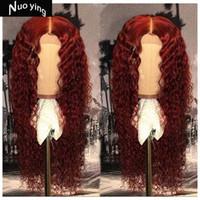 kıvırcık kırmızı saç peruk toptan satış-Kırmızı Kıvırcık Dantel Ön İnsan Saç Peruk Ağartılmış Knot Perulu Remy Saç Peruk 13 * 4 Kadınlar Için Bebek Saç Ile 130% Yoğunluk
