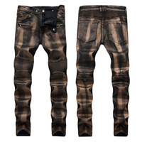 890b5a539818a Popular Mens Jeans Distressed Ripped Skinny Jeans Designer Slim Motorcycle  Moto Biker Causal Mens Denim Pants Hip Hop Men s Jeans