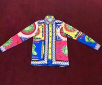 camisas a cuadros para hombre largas al por mayor-Camisas de diseñador para hombre 2018 Otoño invierno Harajuku Medusa Camisa social masculina Moda a cuadros Camisas casuales Hombres blusa de manga larga m-3xl