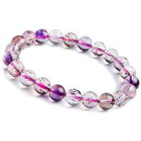 cristal rutile achat en gros de-En gros 9mm Véritable Naturel Pourpre Rutilated Quartz Cristal Bracelets Pour Femmes Super Sept Mélodie Pierre Stretch Bracelets