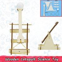 diy oyuncak kiti toptan satış-Ahşap Mancınık Modeli Kitleri DIY Çocuklar için Gençler Trebuchet Bilim Fizik Deney Eğitim Yapı Taşları Oyuncaklar Parti Oyunları
