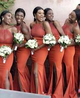 vestidos da dama de honra do rosa quente venda por atacado-2019 africano sexy split Sereia vestido de dama de honra Sheer halter pescoço Elastic mancha Barato Maid of Honor Vestidos Hot Pink Wedding Guest Dresses