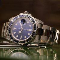 montres mécaniques pour dames achat en gros de-Hommes Femmes Diamant Montres Lady Femme Designer Party strass Montre Homme mécanique automatique en acier inoxydable auto-vent bleu montre-bracelet nouvelle