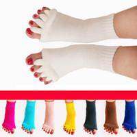 счастливые ноги оптовых-Йога Массаж Носки Здравоохранение Носки Пять Пяток Спорт Фитнес Танец Пальцы Сепаратор Удобные Пальцы Носки Счастливые Ноги