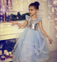 Wholesale tutu skirt for graduation resale online - Sequined And Tulle Girls Pageant Gowns Silver Top Cap Sleeve Light Blue Tutu Skirt Flower Girl Dresses For Wedding Cheap Baby Party Dress