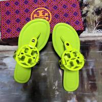 t sandaletes de sandália venda por atacado-TB Miller pele De Carneiro De Couro de Patente Ms Sandálias Praia Plana T-Strap Chinelos de Tanga TORY-B Flip-Flop Designer de Chinelos de sola de Borracha frete grátis
