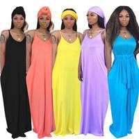 zarif şapkalar toptan satış-Şapkalar cebi kat uzunlukta elbise gevşek uzun etek zarif lüks clubwear LJJA2527-10 kadınlar tasarımcı katı kolsuz maksi elbise
