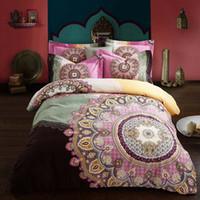 Wholesale 3d bedding set pink roses online - Bed Set Boho Cotton D Duvet Cover Sets Bohemian butterfly bird floral peacock Print Bedsheet Pillowcase Adult Double Bed King Size
