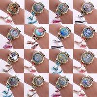 montres emballées achat en gros de-22 Modèles Frida Montres À La Main Weave Wrap Bracelet Montres Femmes Robe Colorée Quartz Casual Montre Tissé À La Main Cadeau Parfait.