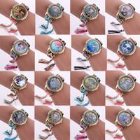 vigiar a mão das mulheres venda por atacado-22 Modelos Frida Relógios Handmade Weave Wrap Pulseira Relógios Mulheres Vestido De Quartzo Colorido Casual Hand-Woven Relógio De Pulso Presente Perfeito.