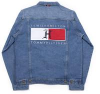 xxl denim ceketler toptan satış-Erkek Kot Ceket Trendi Marka Uzun Kollu erkek Tasarımcı Ceket erkek Mektup Baskı Denim Ceket Boyutu M-XXL