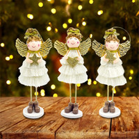 Wholesale white house christmas ornament resale online - 2019 New Christmas Doll Angel Wings Cute Angel Plush Doll Christmas Wall Decor House Ornaments New Year Gift Decorations