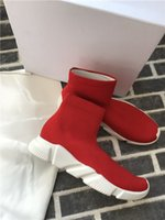 Wholesale chocolate sock resale online - Designer Speed Trainer Luxury Knited Shoes Women Mens Casual Shoes Black White Red Flat Fashion Speed Knit Socks Sneakers Fashion Trainers