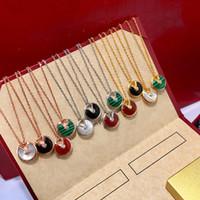 e 14k de oro al por mayor-Joyería de diseñador de lujo collar de mujer 925 plata esterlina ágata natural doble amuleto Colgante amor Collares mujeres 14k cadenas de oro joyería