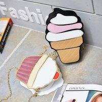 cadeia de gelados venda por atacado-Mulher do estilo criativo Hamburger Ice Cream sacos de ombro Cupcake PU Cadeias bonito bolsas Fries Hamburger pipoca 3D do Messenger