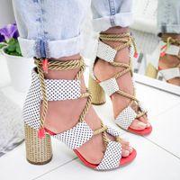 açık topuk sandaletler kalın topuk toptan satış-6hot satmak! Yeni Yaz moda yüksek topuk burnu açık dantel renk sandalet ile kalın büyük boy 35-43