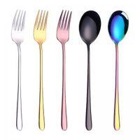 ingrosso stoviglie moda-Moda placcare colore forcella del cucchiaio da cucina di lucidatura posate da tavola in acciaio inossidabile caffè a casa di agitazione cucchiaio da tavola di TTA330-1