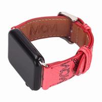 marcas de relojes deportivos al por mayor-Nuevas correas de cuero de marca para Apple Watch Band Iwatch 38mm 42mm 40mm 44mm Bandas de tamaño Pulsera deportiva de cuero Diseñador Watch Band A08