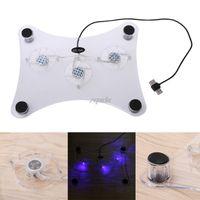 usb ps2 para pc venda por atacado-Azul LED Luz 3-Fan Cooler USB Cooling Pad Suporte Para PS2 PS3 Slim 12