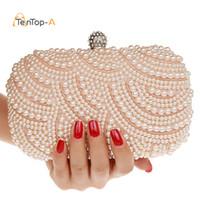 ingrosso borse a mano bianca-Borsa da sera perline in rilievo per donna borsa da sera con perline in rilievo a mano