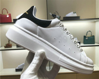 Wholesale platform muffin shoes for sale - With Box New Casual McQueens Shoes Women Alexanders Luxury White Leather Platform Shoes Flat Lady Muffin Sports Sneakers