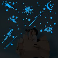 Wholesale moon stars wall decor for sale - Group buy fashion Glow In The Dark Wall Stickers With Luminous Rocket Meteor Planets Shooting Stars Moon Art Decor For Kids Room