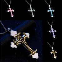 Wholesale byzantine crosses resale online - Byzantine Gold Silve Stainless Steel Chain Catholic Crucifix Pendant Male Punk Rock Ornaments