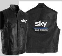 chaleco de ciclismo negro al por mayor-Moda sky pro chaleco de cuero negro motocicleta hip hop chaleco de cuero chaqueta sin mangas de los hombres