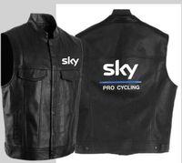 gilet de cyclisme noir achat en gros de-Veste en cuir de cyclisme de la mode ciel pro noir veste en cuir moto hip hop veste sans manches pour hommes