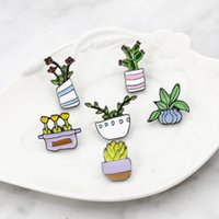 Wholesale enamelled pots resale online - new arrival cute Potted plant cactus Daffodil flower pins brooches women men enamel label pins brooches gifts