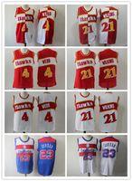 kit diy china venda por atacado-Atlanta 21 Dominique Wilkins Hawks Jersey Equipe Red White 4 Spud Webb camisas Fardas Rev 30 New Material Tamanho de alta qualidade S-XXL