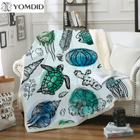 dickes samtgewebe großhandel-Verdickte doppellagige Decke Cartoon Turtle Blankets Tiermuster Dicke Tapisserie Coral Velvet Fabric Quilt Cover Blanket