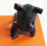 porte-clés de luxe pour hommes achat en gros de-Chaude luxe noir chien porte-clés voiture de mode porte-clés pour femme et homme chien Designer en acier inoxydable porte-clés pour cadeaux sans boîte