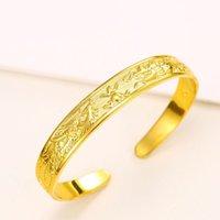 ingrosso condurre i draghi-(69BA) Gioielli per matrimoni Dragon e Phoenix Bangles Jewelry 24k Gold Plated Women Per design speciale Nickel e lead free