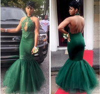 ingrosso abito da sera in nero-Halter Neck Mermaid Green Satin Prom Dress Blackless Lace Appliques Women Evening Dress 2019 Wowdress all'ingrosso a buon mercato