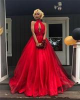 красная юбка из органзы оптовых-Дешевые красные платья выпускного вечера 2019 Line Холтер плюс размер юбка из органзы черные девушки 2K19 пара моды спинки вечерние платья