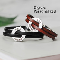Wholesale id bracelet for sale - Group buy New Fashion Free Customized Name Logo Date ID Bracelet Double Genuine Leather Magnet Bracelets for Lovers Men Women Gift SL