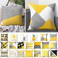 gelbe kissenbezüge großhandel-Rosequeen 45x45cm gelb gestreiften Kissenbezug geometrische Dekokissen Kissenbezug Druck Kissen Kissenbezug Schlafzimmer Büro Dekor