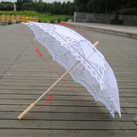 paraguas de madera blanco mango al por mayor-Qunyingxiu 2019 exquisito paraguas blanco elegante artesanía de madera de encaje estilo clásico hecho a mano mango largo estilo asiático paraguas T8190619