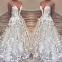 Wholesale empire line lace wedding dresses white for sale - Boho Lace Sweetheart Wedding Dresses Modest Lace Appllique Sweep Train Puffy Summer Beach Princess Bridal Dress Lace up