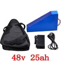 batterietaschen großhandel-48V 1000W 2000W Batterie 48V 25ah Dreieck-Lithiumbatterie 48V 25AH elektrische Fahrradbatterie mit 50A BMS + 54.6V-Ladegerät + Tasche